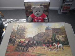 Tally Ho! (pefkosmad) Tags: jigsaw puzzle hobby pastime recreation leisure arrowpuzzles 1000pieces complete used secondhand themeet painting art hunting foxhunting georgekarlkoch horses hounds huntingpink carriage tedricstudmuffin teddy bear ted cute stuffed soft softie plush fluffy animal toy cuddly foxhounds