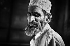 Muslim face (Feca Luca) Tags: street reportage portrait ritratto muslim blackwhite india asia people nikon