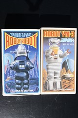 Robby and Lost In Space Robot Boxes (Masudaya 1980's) (Donald Deveau) Tags: lostinspace robot masudaya toys toyphotography vintagetoy robots robby robbierobot ym3 forbiddenplanet sciencefiction boxes japanesetoy