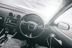 Seat with a view.. Audi A3 (itsjamesy) Tags: audi car sport tfsi a3 a2 a4 12 12l 12litre scotland coast sunset monochrome blackandwhite bw vsco sun glare rays sunrays stevenston point ayrshire scottish nikon d7100 1224mm nikkor f4