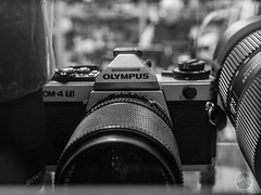 Camera with a Heart (DownTheLens) Tags: blackandwhite film monochrome olympus om om4