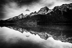 String Lake, black and white (capturedbythelight) Tags: mountain lake reflection photography flickr tetons grandtetonnationalpark 500px