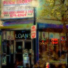 ... urban pawn ... (xandram) Tags: urban signs photoshop downtown manipulation textures pawnbroker bridgeportct