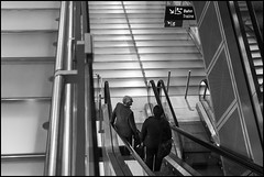 Horizontals (frischauge) Tags: street city 2 two people urban bw white geometric monochrome lines stairs train town back airport pattern order fuji geometry candid escalator cologne rail kln x line protrait sw fujifilm 1855mm 1855 curve shape parallel bahn rectangle fujinon ordered geometrie xf geometrisch xe1 xtrans xmount wsstreet wsarchitecture
