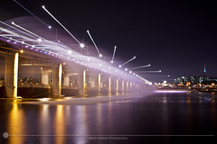 Banpo Bridge Show (MarkDeibertPhotography) Tags: water fountain night lights zoom korea seoul southkorea hanriver banpobridge