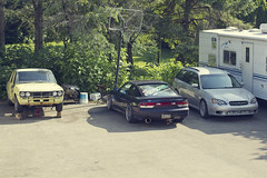 A project, a drifter, and a daily driver (KLphotog) Tags: door summer two get car work project wagon nissan doing driveway subaru 510 legacy excite lowered datsun 240sx coilovers