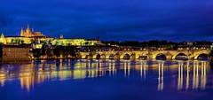 Prague & Blue Hour (Luís Henrique Boucault) Tags: travel blue sunset vacation castle church colors night canon river lights europe republic czech prague praha praga east most hour luis 40mm charlesbridge vltava hdr henrique 6d moldau boucault kamenný