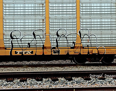 ich. ich.    (Dissed) (INTREPID IMAGES) Tags: street railroad color art train bench circle t graffiti fan fry paint steel painted sony tracks rail railway trains tags images 63 yme railcar intrepid writer boxcar ich freight rolling ichabod dissed itd sfl paintedtrains benching intrepidimages