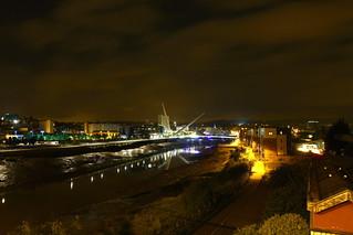 View from George Street Bridge Newport at night