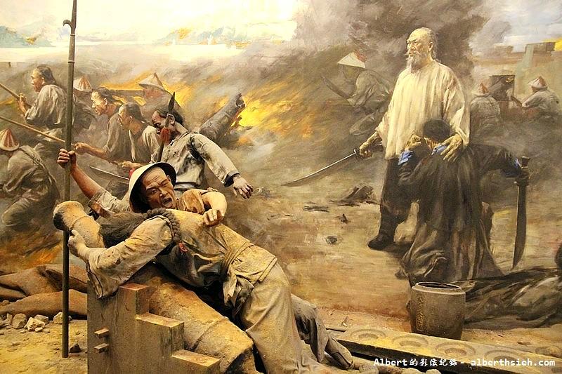 廣東水師提督關天培在虎門砲台戰死沙場的油畫圖