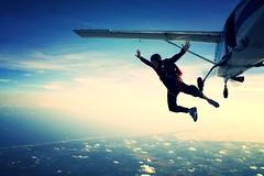 Skydiving May 2009', Chris is Superman! (divemasterking2000) Tags: sky skydiving coast spring al jump jumping gulf alabama dive may diving center skydive canopy dropzone emerald 2009 chute parachute dz gulfcoast elberta ecsc