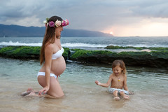 Splashing, Mommy and Me, Hawaii (Julie Thurston) Tags: ocean family flowers boy sunset baby flower beach nature beauty horizontal canon mom hawaii toddler surf child oahu mommy pregn