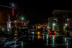Adams Street Christmas Lights in the Rain (jpr_me) Tags: street winter color reflection rain statue digital lights nikon december cityhall maine christmaslights biddeford wetpavement adamsstreet tonemapped tonemap blindphotographers 1855mmf3556gvr d7000