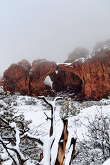 Double Arch (FLM Photography) Tags: park red snow utah nationalpark sandstone snowstorm arches archesnationalpark doublearch