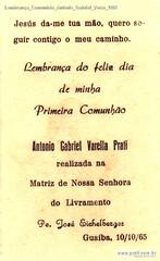 Lembrança Comunhão Antônio Gabriel Verso 1965