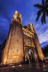 Cathedral of San Gervasio (docjfw) Tags: travel sunset mexico dusk rivieramaya d800 vallodolid nikkor1735