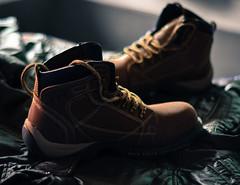 the wood boot (avikpics...) Tags: dusty woodland boot shoe 50mm nikon boots depthoffield adventure tough rugged oldboot d5100 nikond5100