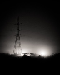 Blurred (power) Lines (pangalactic gargleblaster and the heart of gold) Tags: blackandwhite bw night contrast power powerlines hyderabad a annojiguda