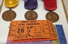 USA Weightlifting Hall of Fame and York Barbell Museum (Marcellina.) Tags: york history museum tickets ribbons pennsylvania bodybuilding pa halloffame awards weightlifting 1947 medals strongman powerlifting 2014 yorkbarbell worldsweightliftingchampionships usaweightliftinghalloffame