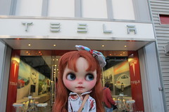 Verne in front of the Tesla store