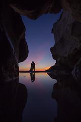Beach Wedding Reflection (Brady Cabe - Photographer) Tags: pink wedding sunset reflection beach rocks caves pismo
