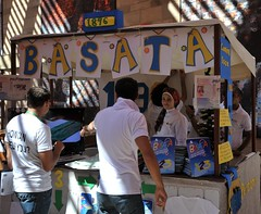 Cast member Lobna Shaheen of Basata at her team's booth.
