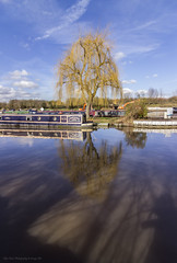 Willow Tree Reflections -Cheshire UK (Glyn Owen Photography & Image-Art) Tags: uk holiday reflection tree tourism water boat canal lift cheshire willow barge anderton