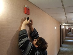 Photographing a fire alarm (SchuminWeb) Tags: schuminweb ben schumin web february 2017 elyse horvath elysehorvath woman baja hoodie glasses camera cameras greencastle pennsylvania pa franklin county comfort inn comfortinn hotel hotels corridor corridors guest guests hall hallways halls way ways wheelock 7002 7002t fire alarm horn horns hornstrobe hornstrobes strobe strobes light lights strobelight strobelights firealarm firealarms alarms red wallpaper signal signals notification appliance appliances cooper