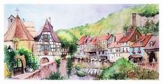 Kaysersberg - Alsace - France (guymoll) Tags: kaysersberg alsace france aquarelle watercolour watercolor aguarela acuarela colombages château ruine village town