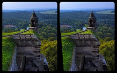 Barbican of Fortress Königstein 3-D / Stereoscopy / CrossEye / HDR / Raw (Stereotron) Tags: saxony sachsen sächsischeschweiz festungkönigstein barbican barbakane castle fortress burg ausblick landscape architecture lookout europe germany crosseye crosseyed crossview xview cross eye pair freeview sidebyside sbs kreuzblick 3d 3dphoto 3dstereo 3rddimension spatial stereo stereo3d stereophoto stereophotography stereoscopic stereoscopy stereotron threedimensional stereoview stereophotomaker stereophotograph 3dpicture 3dglasses 3dimage twin canon eos 550d yongnuo radio transmitter remote control synchron kitlens 1855mm tonemapping hdr hdri raw