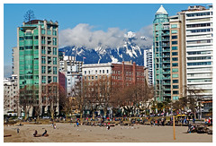 View from the Beach (HereInVancouver) Tags: vancouver bc canada sunsetbeach sylviahotel urban city mountain coast mountains winter outdoors sunshine