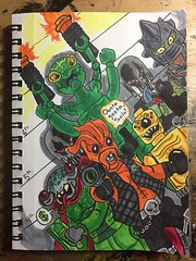 The Black Hole Gang (LordAllo) Tags: lego space police criminals aliens kranxx snake frenzy skull twins squidman comic marker art