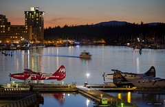 Sundown Over Coal Harbour (Clayton Perry Photoworks) Tags: vancouver bc canada spring explorebc explorecanada skyline airplane night light harbourair westin hotel canada150