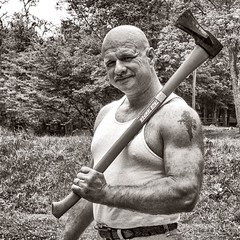 Hi Ho, Hi Ho . . . (Oliver Leveritt) Tags: man axe monochrome blackandwhite sepia platinum portrati