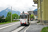 Stubaitalbahn tramway, Austria. Tram No 81 rests at Fulpmes after forming a service from Innsbruck on 02 May 2007.
