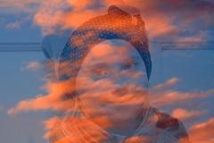 Sunset Girl (Ramunė Vakarė) Tags: sunsetgirl sunset girl person people smile sky cloud face orange blue experiment double lithuania eičiai ramunėvakarė