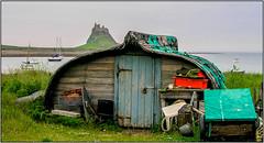 Lindisfarne Castle and a shed. (planetreeimages) Tags: boatshed lindisfarne boats island coast landscape trailer holyisland