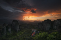Sunset Meteora (Krasi St Matarov) Tags: meteora landscape travel outdoor sunset nikon workshop rocks red tops sky gold phototour adventure forest greece kalambaka clouds nature