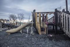 Fire at a Childs Park (AertformePhoto) Tags: blaze harbourview fire arson crime winnipeg playground structure kilcona park flames