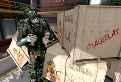 Frageelay (Eridanus Industries) Tags: slmc second life military an alliance navy combat amor vodka pyro scifi science fiction armor frageelay drunk mars guns