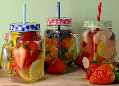 Fruity (Clare-White) Tags: fruit jars glasses 3 strawberries red setup lids drinks water colourful indoors stilllife straws mixed mpt544 matchpointwinner