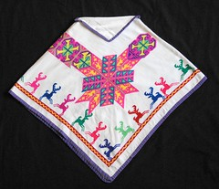 Huichol Cape Quechquemitl Mexico (Teyacapan) Tags: wixarika jalisco huichol cape quechquemitl clothing textiles mexican embroidered deer