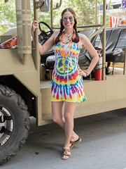 Peace Tee Shirt Dress (Ron Scubadiver's Wild Life) Tags: girl woman people candid style nikon 50mm houston tx art car parade costume sandals street