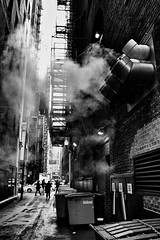 Smoke (draketoulouse) Tags: chicago loop blackandwhite monochrome people street streetphotography alley city urban silhouette light contrast