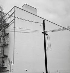 Portland (austin granger) Tags: portland telephonepole wires infrastructure fireescape city cross geometry square film gf670