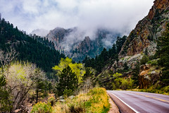 St Vrain Canyon with Fog (wernsmannlynn) Tags: mountain nature road landscape scenics outdoors forest tree highway asphalt rockobject beautyinnature mountainpeak valley nopeople stvraincanyon colorado fog spring