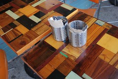 IMG_1693 (wtcamjr) Tags: composition woodwork table setting restaurant grain pattern diagonal