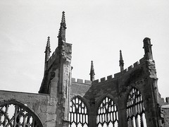 Coventry cathedral (OhDark30) Tags: olympus 35rc 35 rc 35mm film monochrome bw blackandwhite bwfp fomapan 200 rodinal coventry cathedral ruin sky