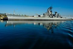 USS Iowa under morning sky (rikioscamera) Tags: losangelesharbor usnavy battleship d750 harbor lightroom morninglight nikon ship water sanpedro ussiowa portside morning 24mmlens bb61 museum