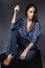Tiffani Blue 4 (neohypofilms) Tags: portrait series blue bleu denim style fashion retro vintage jeans hair long shoes clogs mules slippers 70s 60s hippie color colour 35mm film slr nikon f studio model classic pinup